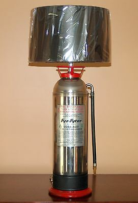 Vintage Stainless Steel FIRE EXTINGUISHER LAMP Steampunk INDUSTRIAL Firefighter