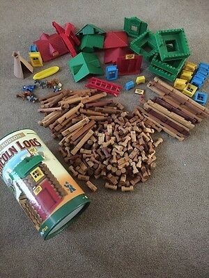 HUGE LOT OF LINCOLN LOGS PIECES Fort Hudson Real Wood Door Roofs Windows People