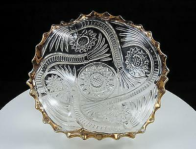"""Imperial Glass Eapg Hobstar And Tassels Gold 6 5/8"""" Scalloped Dish 1909"""