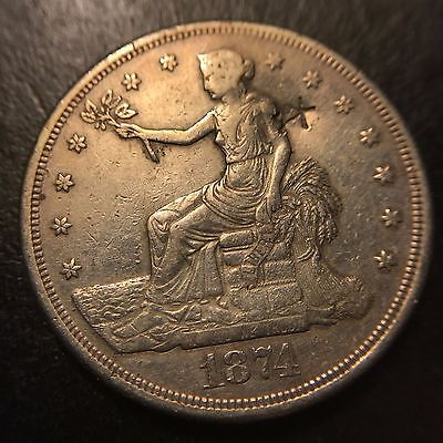 1874 S Trade Silver Dollar AU About Uncirculated San Francisco S$1