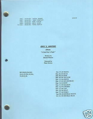 "GREY'S ANATOMY script ""A Hard Day's Night"" The ""Pilot"""
