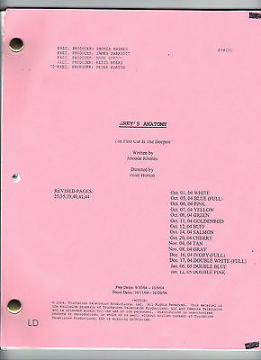 "GREY'S ANATOMY TV Show script ""The First Cut Is The Deepest"""