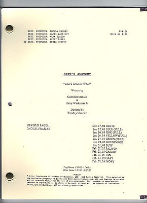 """GREY'S ANATOMY TV Show script """"Who's Zoomin' Who?"""""""