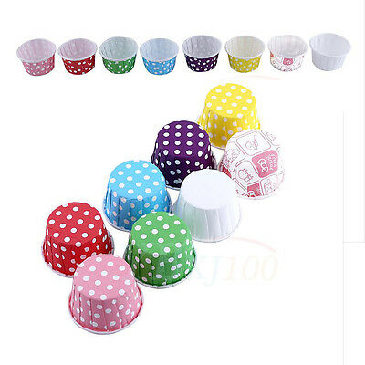 8 Color 100Pcs Christmas Wedding Birthday Paper Cupcake Cases Baking Cups Muffin
