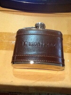 Flask Pocket Leather Stainless Steel 4oz Dewars 12 Whiskey Save $ Carry Anywhere