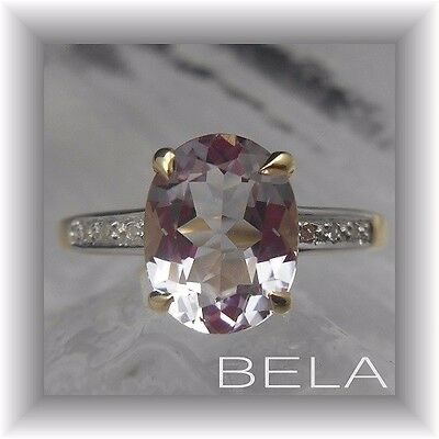 1.69Ct Genuine Pink Amethyst & Diamond Quality Solid 9Kt 9K Yellow Gold Ring