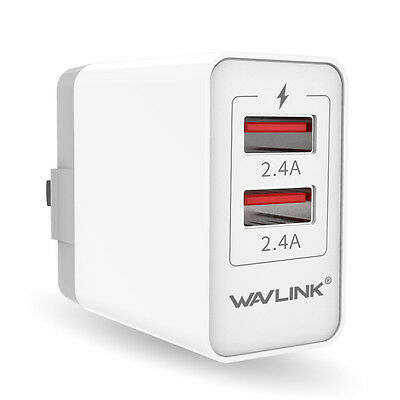 Wavlink 24W/4.8A Wall Charger USB Type-A 2 Port Quick Charger &Folding US Plug