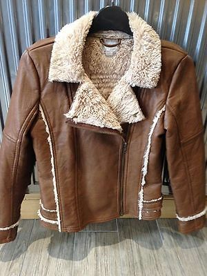 Next Girl Tan Aviator Style Faux Leather jacket aged 11-12