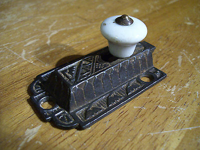 Victorian Iron Cabinet Spring Latch Piece With Porcelain Knob