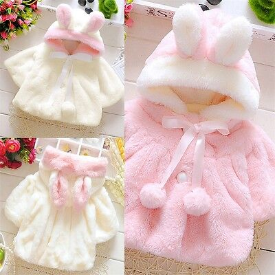 Baby Infant Girl Fur Winter Warm Hooded Coat Jacket Cloak Top Thick Soft Clothes