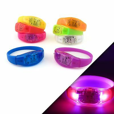 Music Sound Voice Activated LED Flashing Light Bracelet Party Gig Rave Bangle