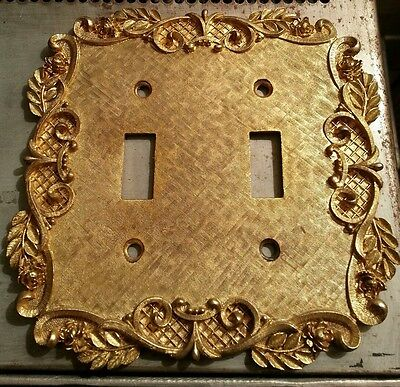Hollywood Regency Cast Solid Brass Double Switch Plate by Florenta of California