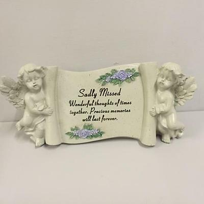 New SADLY MISSED Grave Memorial PLAQUE with LILAC FLOWERS and CHERUBS Graveside