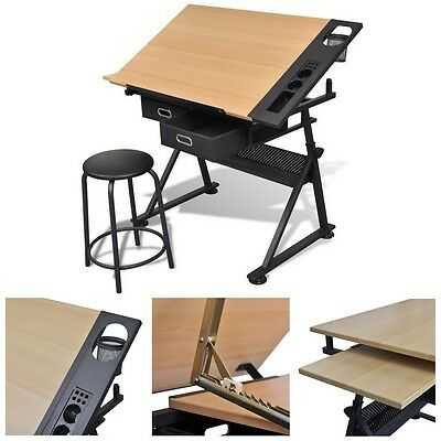 Technical Drawing Board with Stool 2 Drawers Wooden Desk Artist Draft Architect