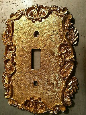 Hollywood Regency Cast Solid Brass Single Switch Plate by Florenta of California