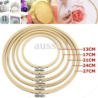 5x Wood Cross Stitch Machine Embroidery Hoop Ring Bamboo Sewing 13/17/21/24/27cm