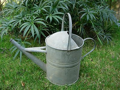 Large Vintage  Galvanised  2 Gallon Metal Watering Can  (863)
