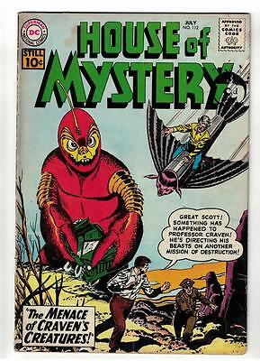 DC Comics VG+ HOUSE OF MYSTERY  #112 1961 rare silver age