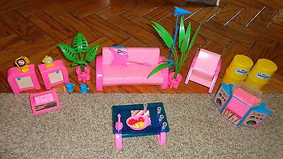Vintage Mattel ROCKIN' BARBIE Pink SOFA set with STEREO + accessories