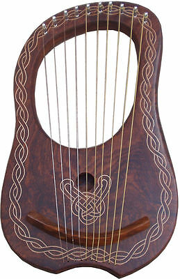 New Lyre Harp Sheesham Wood 10 Metal Strings/Lyra Harp 10 Strings Free Case +Key