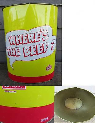 """1984 Wendy's Hamburgers """" Where's The Beef"""" Metal Trash Can"""