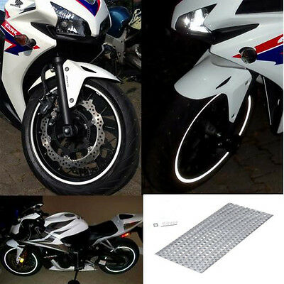 """New RIM stickers Silver White Reflective Tape 6mm 16 """" 17"""" 18"""" Motorcycle Car"""
