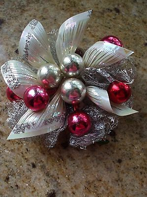Vintage Christmas Corsage Pink White Silver Glitter Mercury Glass Lacy Ribbon