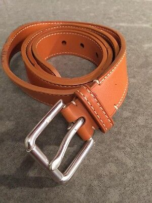 """Ralph Lauren Saddle Leather Belt SZ 38 1"""" Width NWT Light Brown Made in Italy"""