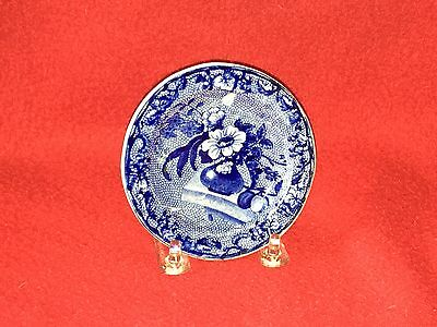 Historical Staffordshire Dark Blue Cup Plate Floral Urn By Clews Transfer