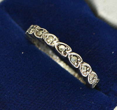 Vintage STERLING SILVER & Marcasite Full Eternity Stacking Hearts Band RING - K
