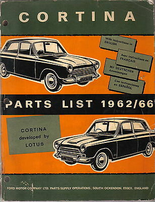 Ford Cortina Mk 1 inc. Lotus original illustrated Spare Parts List 1962-1966