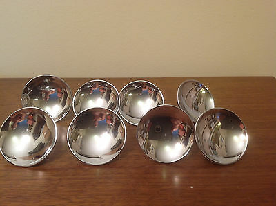 "8 Vintage Mid Century 2"" CHROME DRAWER KNOBS Cabinet Door Pulls Concave Handles"