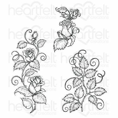 Heartfelt Creations: Classic Rose Vines Cling Stamp Set (HCPC-3753)
