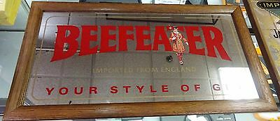 Vintage Beefeater Gin Mirror Sign Wood Frame Advertising