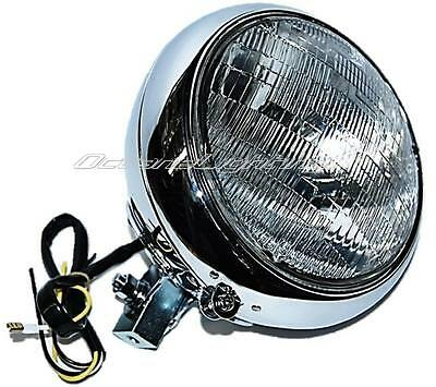 "7"" Motorcycle Halogen Headlight Housing Headlamp Bulb Bucket Assembly For Harley"