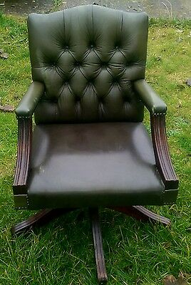 A Modern Green Chesterfield Gainsborough Leather Captains Office Swivel Chair