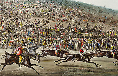1819 | Epsom Races | finish of the DERBY | large finely hand-painted ENGRAVING