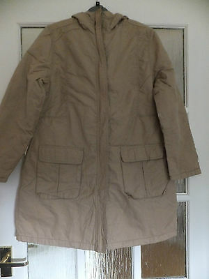 Girls beige light weight quilted long hooded coat sz 11-12 years New