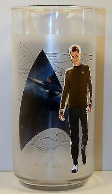 "2009 Captain Kirk 6"" Frosted Drinking Glass Star Trek Burger King"