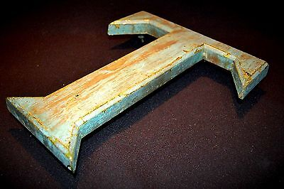 Vintage Plaster Shop Display Letter T Weathered paint Effect Decorative Item  02