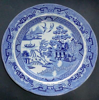 GEORGIAN BLUE+WHITE WILLOW PAT. PLATE IRONSTONE EARLY 1800s