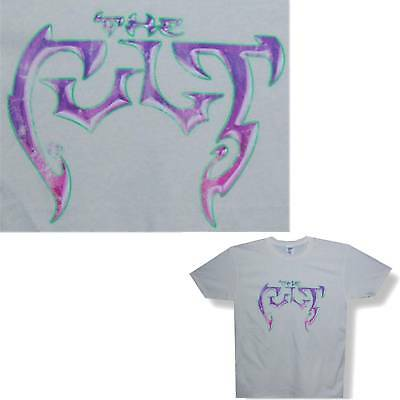 The Cult! Classic Purple Logo Cream T-Shirt Xl X-Large New Official Band