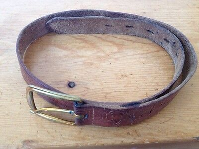 "Vintage Leather Handtooled Embossed Girl Scout Belt w/ Brass Buckle 31"" Long"