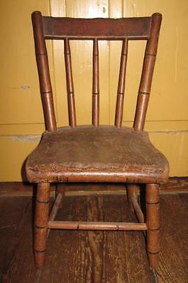 Wooden Childs Chair Plank Seat Spindle Back Vintage Brown Black Doll (O2) AS IS