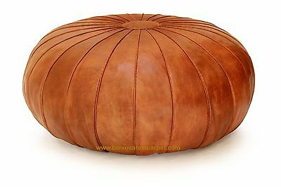 """Round Stunning Leather Moroccan Pouf Ottoman Leather Ottoman Moroccan 32"""" D"""