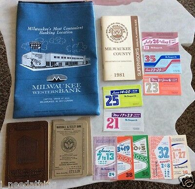 Vintage Milwaukee County Supervisors Bank Pass Books Western Coin Bag 1970 Bus