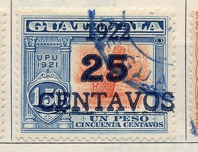 Guatemala 1922 Early Issue Fine Used 25c. Surcharged 108088