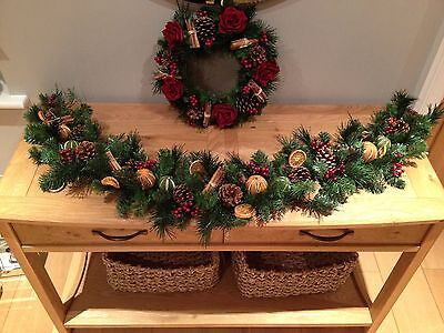 "Luxury Artificial 60"" Xmas Garland With Dried Fruits,cinnamon,berries,fir Cones"