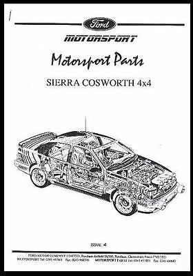 RS COSWORTH SIERRA COMPETITION PARTS MANUAL RACING 4x4