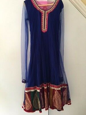 Indian/Bollywood party dress/ Pakistani ready stitched Suit - Blue - Medium
